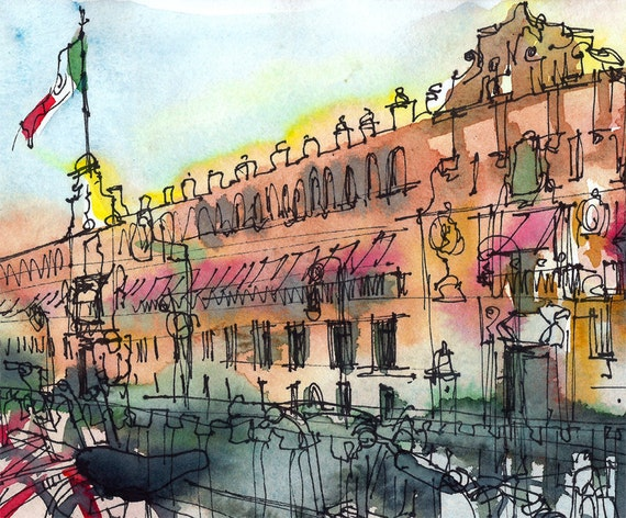 Mexico City Sketch National Palace and bicycles Travel Art a sketch in terracotta and red - 8x10 print