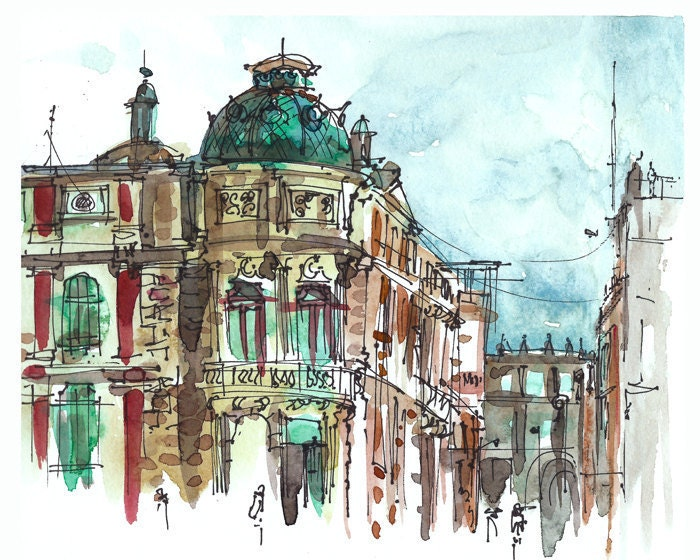 Emerald watercolor sketch mexico city turquoise dome for Printing architectural drawings