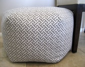 "24"" Ottoman Pouf Floor Pillow Waverly Cross Section Charcoal"