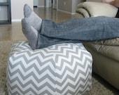 """24"""" Pouf Ottoman Floor Pillow Grey White Zig Zag Chevron"""