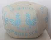 "18"" Ottoman Pouf Floor Pillow Vintage French Feedsack Jacquard Beaudelaire Azure Blue"