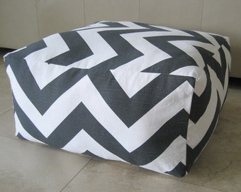 More Colors - Square Pouf Floor Pillow Charcoal White Zippy Zig Zag Chevron