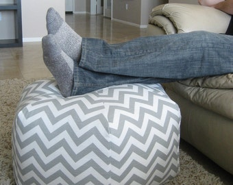 "24"" Pouf Ottoman Floor Pillow Grey White Zig Zag Chevron"