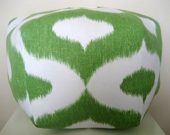 "24"" Ottoman Pouf Floor Pillow Duralee Dalesford Green"