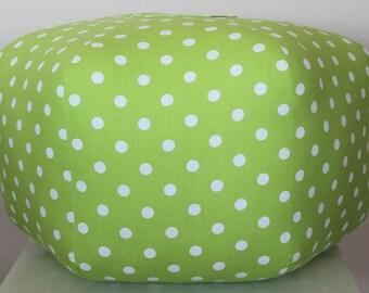 "24"" Ottoman Pouf Floor Pillow Lime Green White Polka Dot"