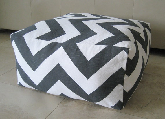 Giant Chevron Floor Pillows : More Colors Sqaure Pouf Floor Pillow Charcoal White by aletafae
