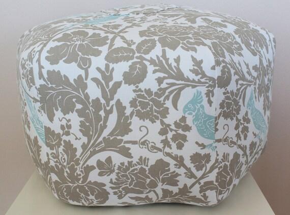 "24"" Ottoman Pouf Floor Pillow Premier Prints Barber Taupe Powder Blue"
