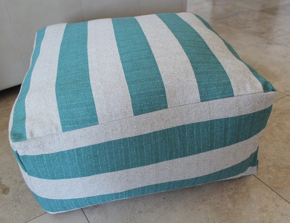 Ready to ship - Large Pouf Floor Pillow Turquoise Natural Stripe