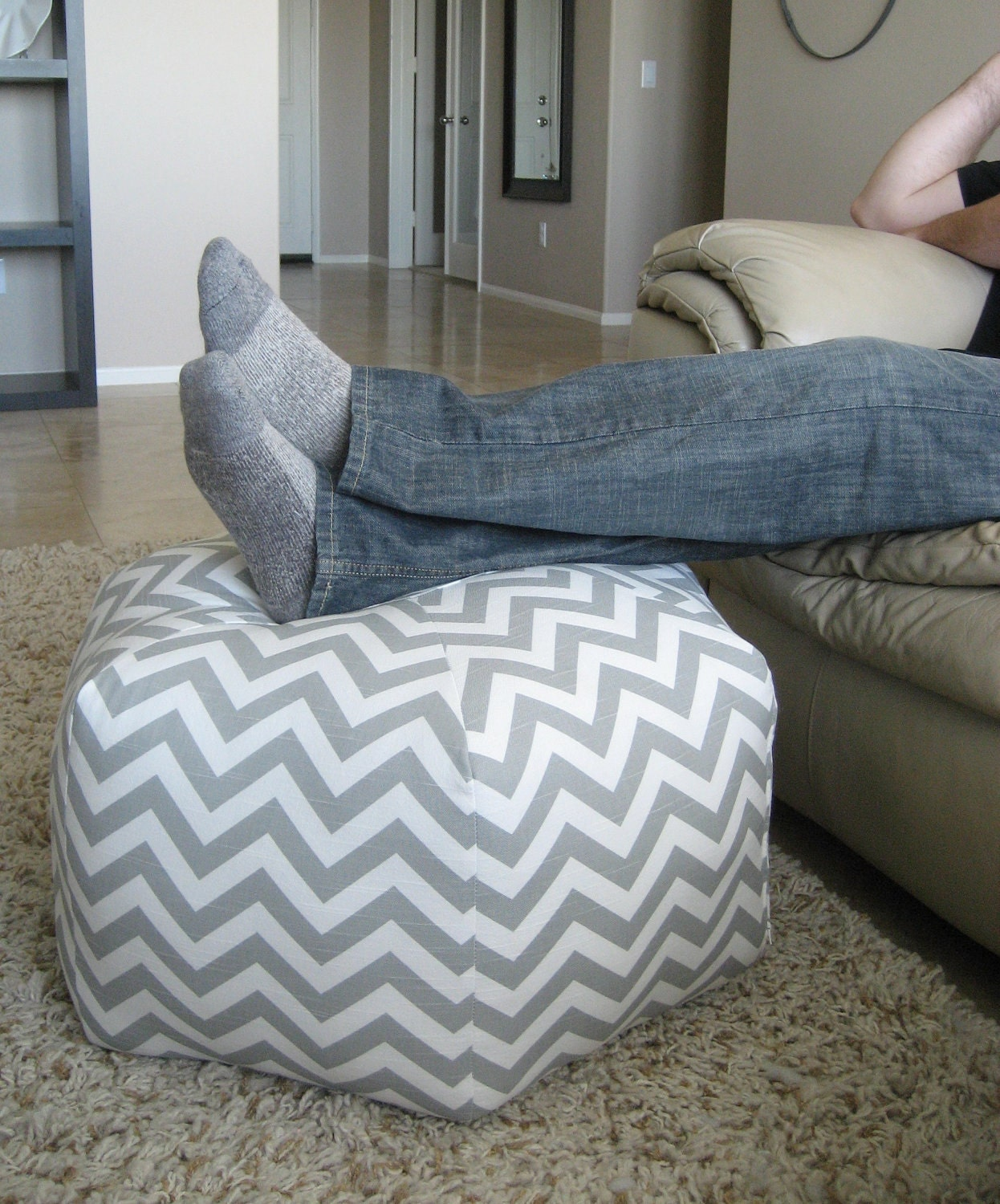 Gray Floor Pillows : 24 Pouf Ottoman Floor Pillow Grey White Zig Zag by aletafae