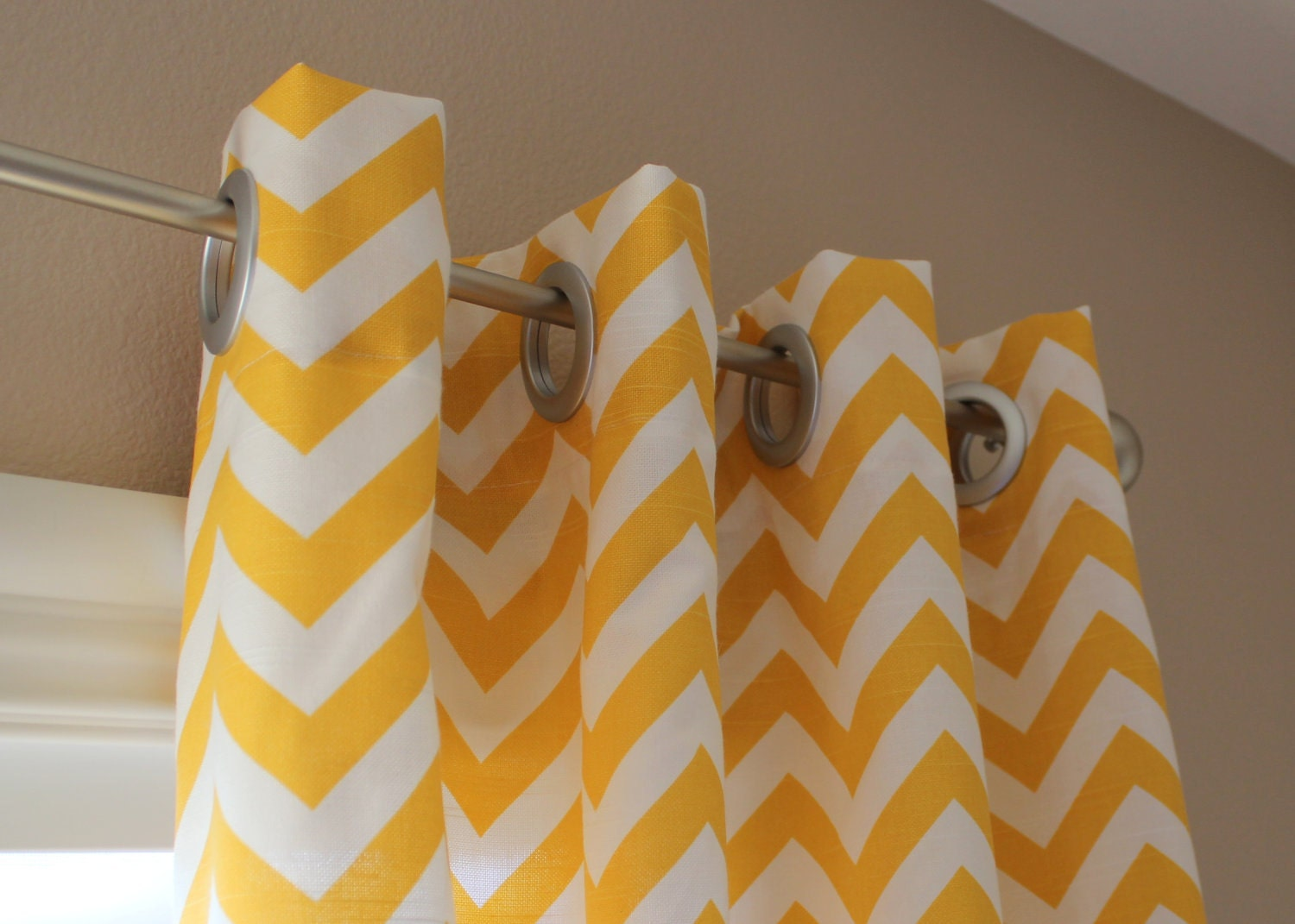 Pair of Designer Custom Curtain Panels 50 x 108 Yellow by aletafae