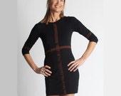 Custom Sexy Black Tunic Dress - Organic Bamboo Blend - Color Choice - Handmade and HandPainted