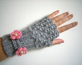 SALE Grey Pink Flower Fingerless Gloves Women Crochet Autumn  Arm Warmers NO:007