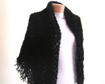 Crochet Shawl Black Handcrocheted Scarf Shimmery