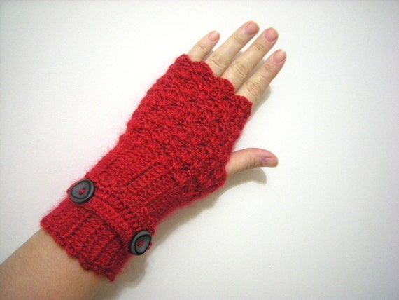 Red,Autumn Arm Warmers, Fingerless Gloves Women Crochet -NO:033