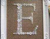 Letter E Button Monogram Antique Frame Included Burlap Vintage Buttons