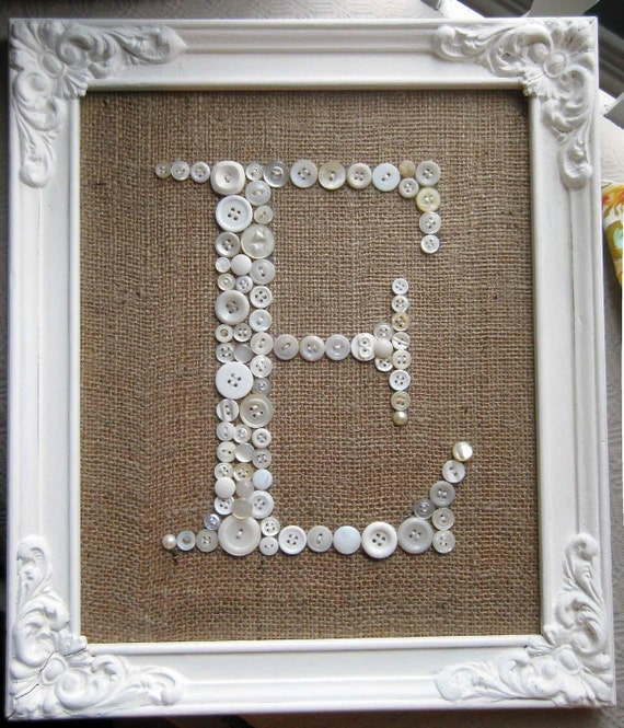 Letter E Button Monogram Antique Frame Included Burlap Vintage Buttons