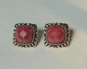 Rose Quartz Earrings, Vintage, Sterling Silver, Well Made,  Pierced