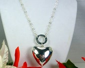 Heart and Love Necklace, Sterling silver