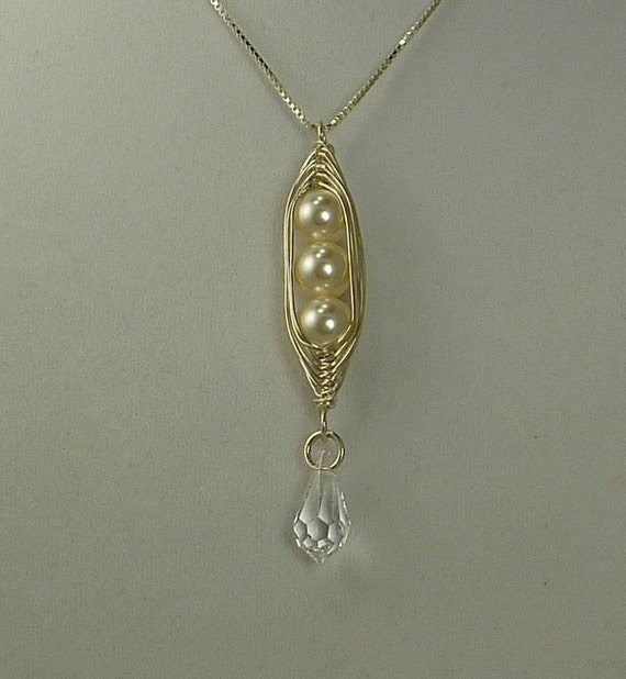3 Swarovski Peas (Pearls)  In a Sterling Silver Pod Necklace with Crystal Tear Drop