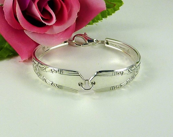 Spoon Bracelet, Silverware - Flatware Bracelet, Silver Jewelry, Vintage Jewelry, Jasmine