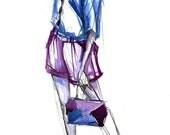 Blue & Violet Ink Fashion Sketch (Original, Framed)