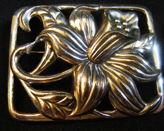 Vintage Sterling Silver Marked DANECRAFT Art Nouveau Floral Brooch Pin 1940s