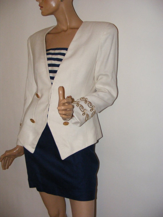 RESERVED for LIU Vintage 80s Lillie Rubin Snappy Nautical Suit Jacket Mini-Skirt 4-6
