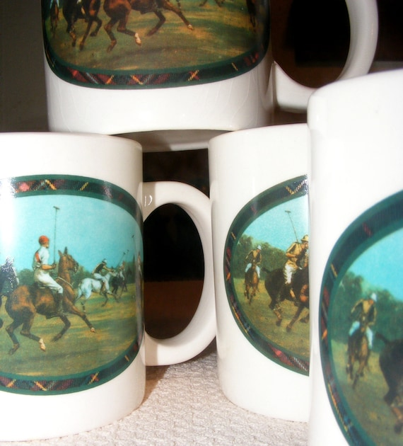 Smashing Set of Four Ralph Lauren 1980s Polo Mugs Cups Polo Ponies