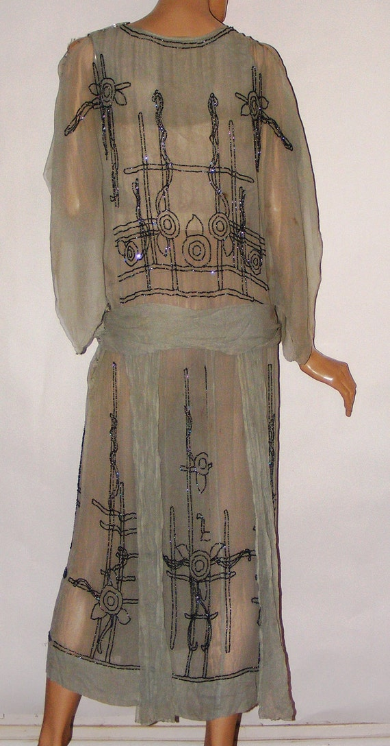 Sage Green Silk Chiffon Vintage Antique 1920s Beaded Dress Flapper Boardwalk Empire Art Deco
