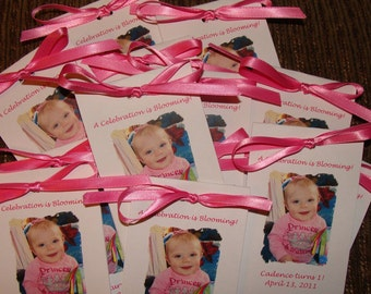 Custom Photo Flower Seeds Party Favors Photograph for Birthday, Wedding, Bridal Shower