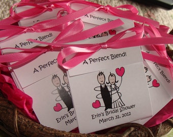 Super Cute Bride and Groom Bridal Shower Wedding Tea Bag Favors in Lavender Blue Red Purple