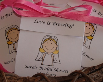 Bride Cartoon Personalized Tea Bag Favors Cute Wedding Shower or Bridal Shower Party Favors CIJ Christmas in July