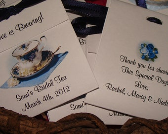 Personalized Bridal Shower Blue Roses Teacup Wedding Anniversary or Birthday Party Favors Rose Teacup