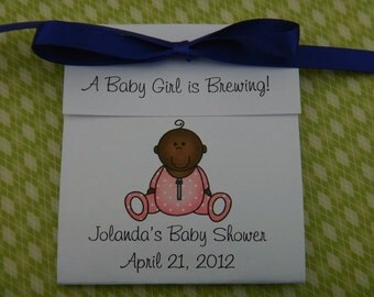 Personalized African American Baby Girl in Pink Outift Baby Shower Favors Baby Sprinkle Tea Party Favors 1st Birthday Favors
