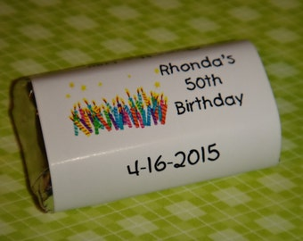 Birthday Candles or Words Candy Wrappers Birthday Party Candy Bar Wrappers