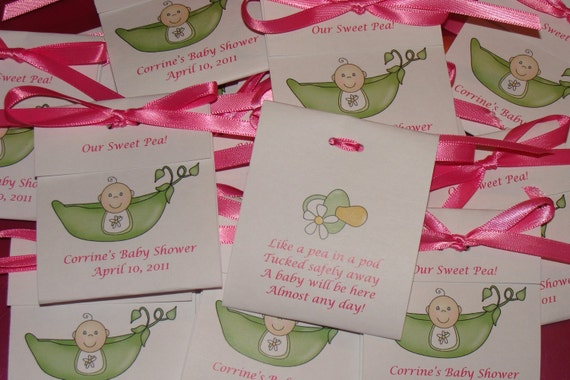 pea in a pod sweet pea baby shower tea bag favors by sulugifts