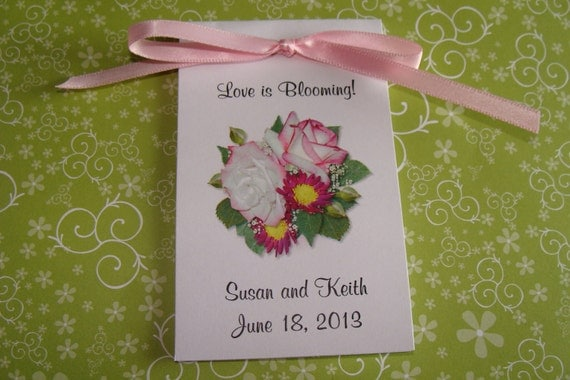 Bridal Shower Wildflower Seed Packets Favors with Henrietta White Pink toned Roses Wildflower Seeds SALE CIJ Christmas in July