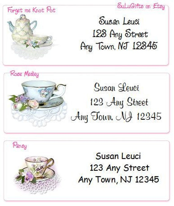 Teacups Personalized Address Labels Elegant and Classy Designs