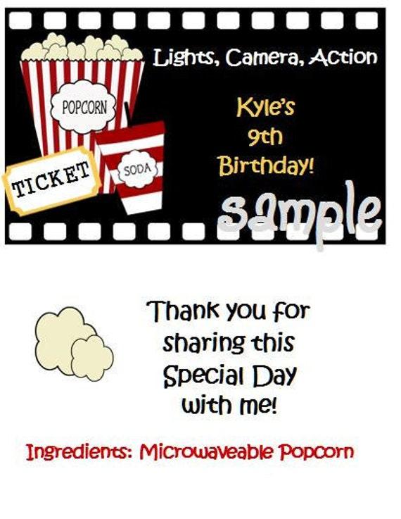 Printable Digital DIY Movie Theatre Popcorn Ticket Soda Popcorn Favors for  Birthday Party Favors
