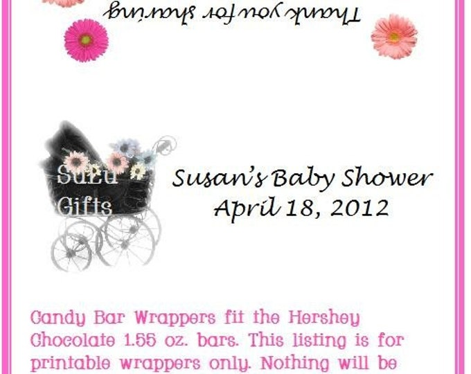 Printable Black Baby Buggy Baby Shower Favors-Digital PDF file for Candy Bar Wrappers