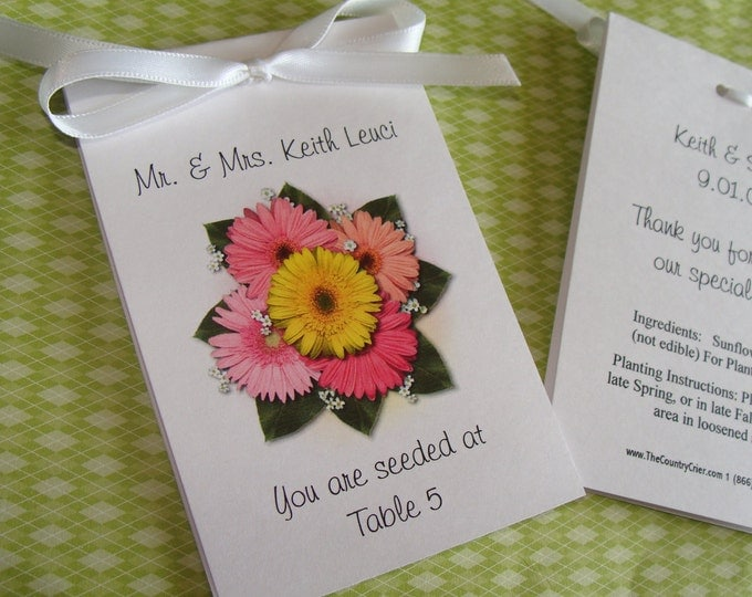 Place Cards Escort Cards Gerber Daisy Mix Design with Wildflower Seeds inside Perfect for Wedding or Special Event SALE