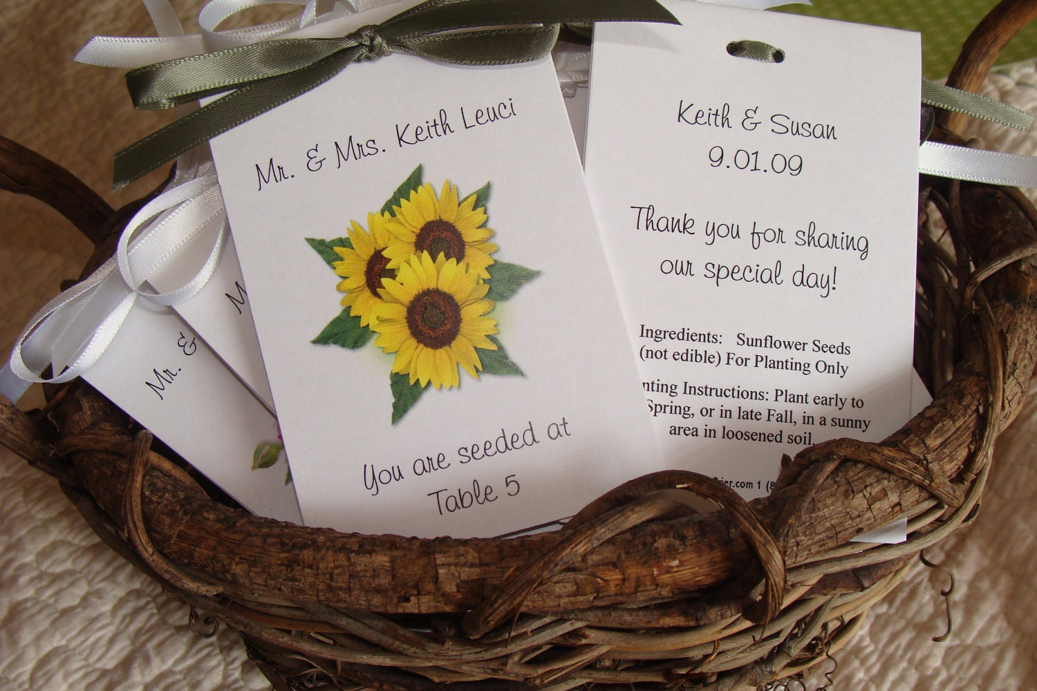 Sunflower Trio Flower Escort Place Cards Printed With Guest