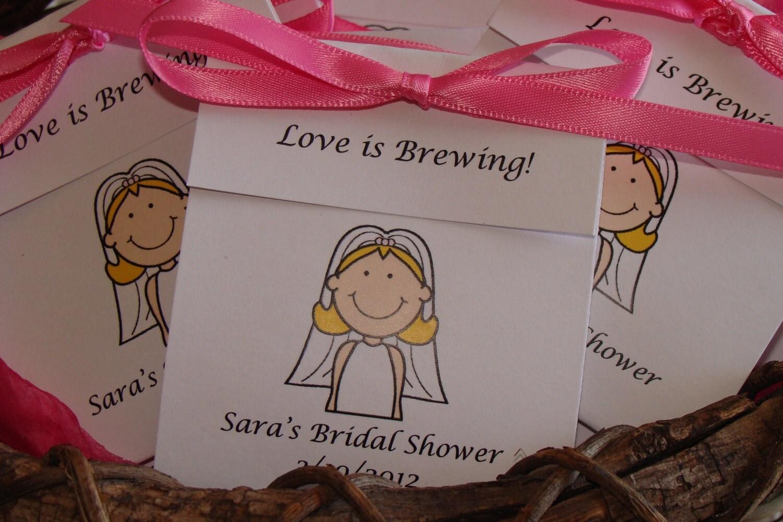 Bride Cartoon Personalized Tea Bag Favors Cute Wedding Shower