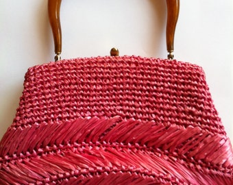 Vintage 1960s Raffia Hot Pink Purse