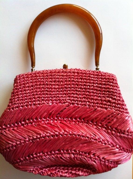 Vintage 1960s Raffia Hot Pink Purse