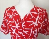 1980s Red Alert Vintage Dress