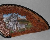 Leather Case Handcarved Wolves and Oak leaves
