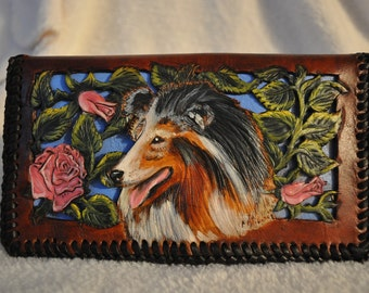 Hand carved leather checkbook cover filigreed flowers with Sheltie