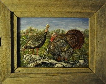 Handcarved Embossed Leather Wild Turkey picture