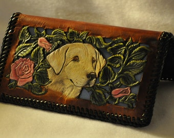 Handcarved  leather filigreed checkbook cover  Labrador Retriever head with roses